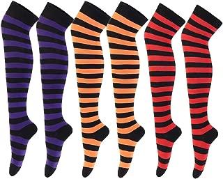 3 Pairs Over Knee High Socks Women Striped Thigh Stockings for Halloween Cosplay Leg warmer