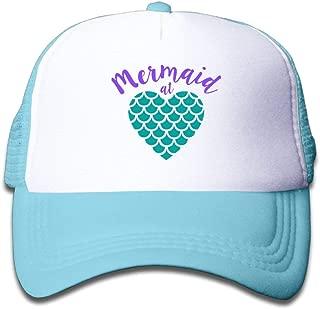 Mermaid at Heart Girl Snapback Mesh Baseball Hat Youth Size Caps