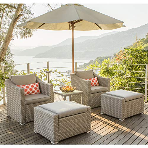 COSIEST 5-Piece Outdoor Furniture Lounge Set Warm Gray Wicker Sectional Sofa w Thick Cushions, Glass-Top Table, 2 Ottomans, 2 Coral Pattern Pillows for Garden, Pool, Backyard