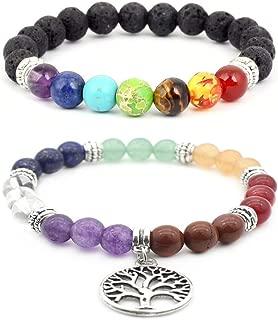 Aikooch Healing Energy 7 Chakras Elephant Bead Bracelet for Yoga 2 Pieces