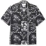 Marca Amazon - 28 Palms - Camisa vintage de rayón 100 % lavado y con corte holgado para hombre, diseño tropical hawaiano, Negro/blanco (Black/White Tile), US XL (EU XL - XXL)