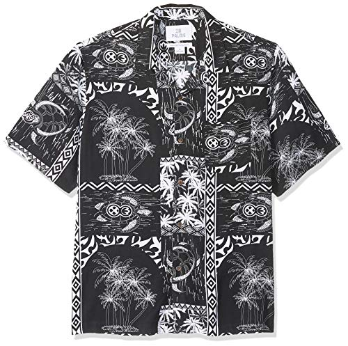 28 Palms Men's Relaxed-Fit Vintage Washed 100% Rayon Tropical Hawaiian Shirt, Black/White Tile, Large
