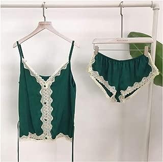 Rayon Silk Pajamas Set Lace Sexy Sleepwear V-Neck Straps Lingerie Shorts Set