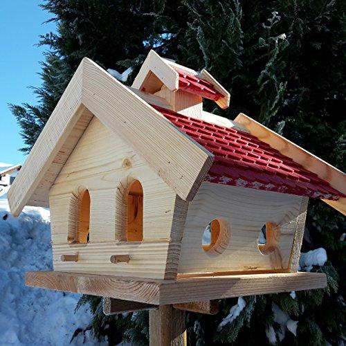 Vogelhaus-XXL mit Holzschindeln und Putzklappe lasiert Vogelhäuser-Vogelfutterhaus großes Vogelhäuschen-aus Holz Wetterschutz (Rot) - 3