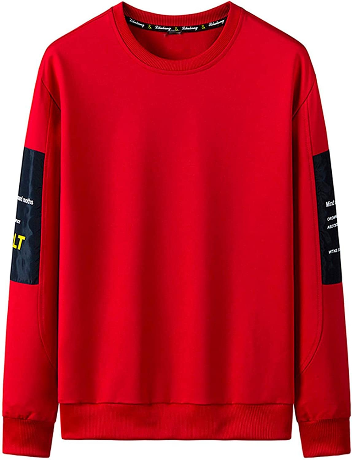 WoCoo Mens Crewneck Sweatshirt Casual Long Sleeve Patchwork Pullover Tops Lightweight Breathable Baggy Blouse