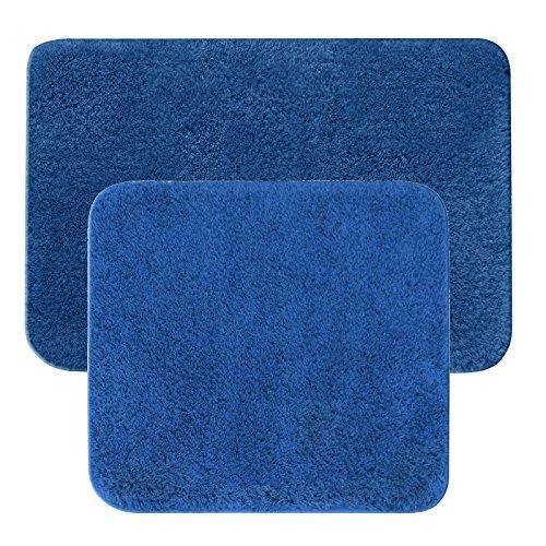 JEMIDI Bad Garnitur Badematten 2 teilig Teppich Badezimmer Matte Set Badematte Vorleger Dusch Bade (2teilg 55x50+55x85 cm Blau)