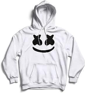 The SV Style Unisex White Hoodie with Black Print: Marshmellow/Printed Black Hoodie/Graphic Printed Hoodie/Hoodie for Men & Women/Warm Hoodie/Unisex Hoodie