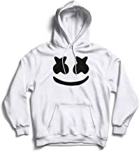 The SV Style Unisex White Hoodie with Black Print: Marshmellow/Printed Black Hoodie/Graphic Printed Hoodie/Hoodie for Men & Women/Warm Hoodie/Unisex Hoodie
