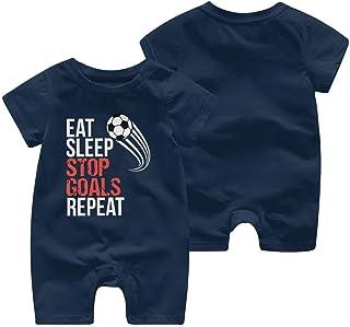 """RROOT Baby-Strampler mit Aufschrift """"Eat Sleep Stop Goals Repeat"""", kurzärmelig, 0-24 Monate"""