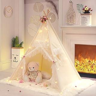 TreeBud Spets tipi-tält för flickor Tipi-tält elfenbensduk klassiskt lektält/hus inomhus för barnrum inredning