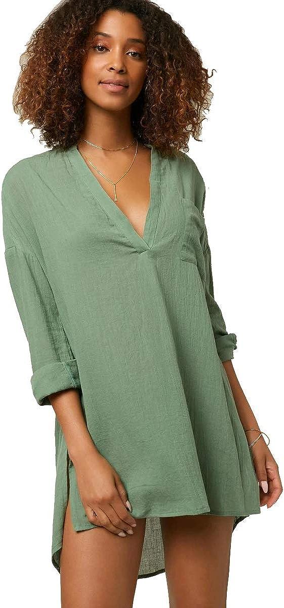 O'NEILL Women's V-Neck Short Length Long Sleeve Woven Dress