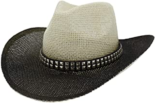 XinLin Du Women Men Sun Cowboy Hat Lady Spray Paint Straw Hat Beach Hat Outdoor Sun Visor Square Rivet Decoration Belt