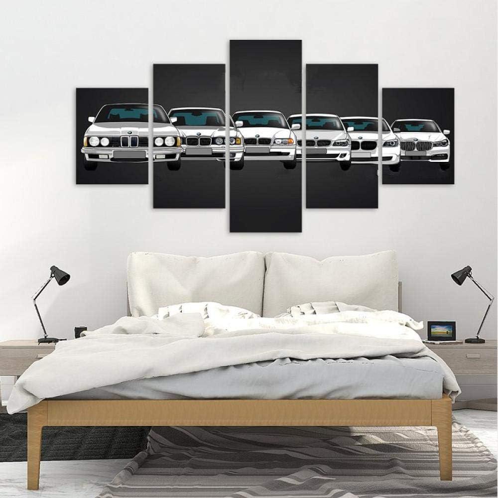 QZGRQ Leinwand gedruckt Poster Home Decor 5 Stück HD BMW M M5 Weiß Sportwagen Gemälde Wandkunst Bilder Wohnzimmer Modular