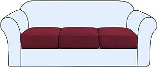 High Stretch Sofa Cushion Cover Set of 3, High Stretch Sofa Seat Slipcovers Couch Cushion Cover 3 Seaters Furniture Protec...