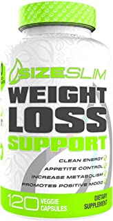 SizeSlim Weight Loss Support-Gluten-Free & Non-GMO, NO Added Stimulants,Mood Enhancement, Diabetic Friendly, Natural Botanical Ingredients-120 Veggie Capsules