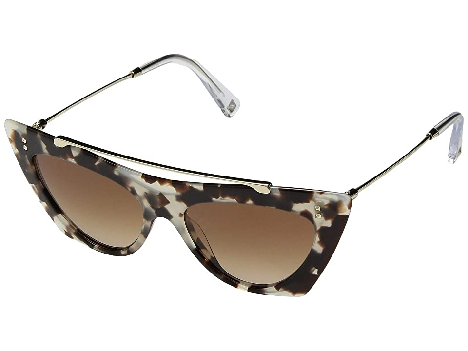 Valentino 0VA4041 (Havana Brown/Gradient Brown) Fashion Sunglasses