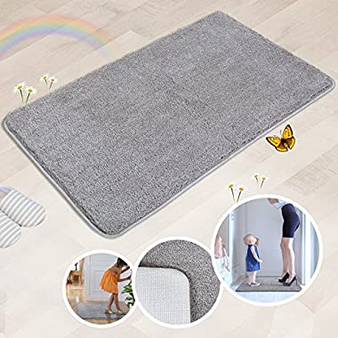 Indoor Doormat Super Absorbs Mud Absorbent Rubber Backing Non Slip Door Mat for Front Door Inside Floor Dirt Trapper Mats Cotton Entrance Rug, 20 x 31.5  Shoes Scraper Machine Washable Carpet (Grey)