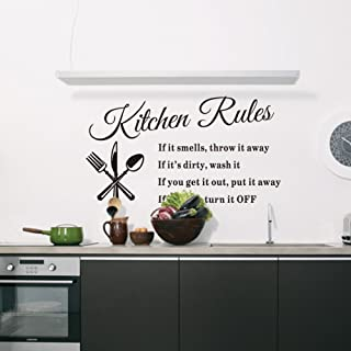 Kitchen Rules Living Room Kitchen Vinyl Carved Wall Stickers Letters Art Quote Decals Home Poster