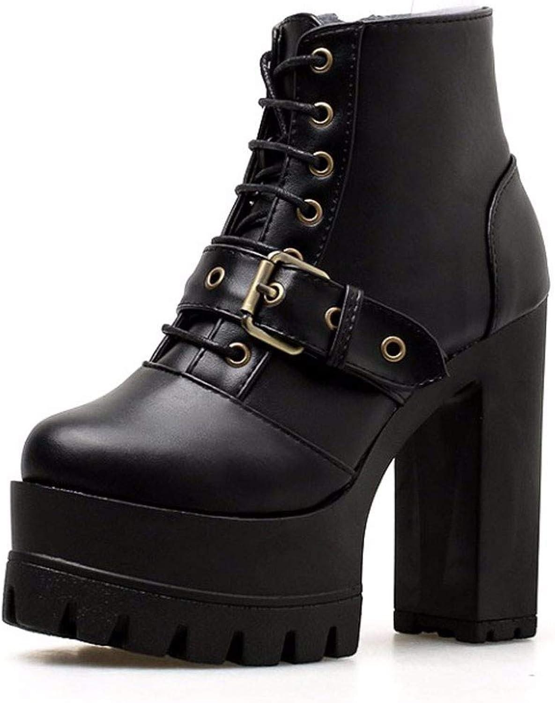 HBDLH Damenschuhe Sexy Modisch Mit Hohen 13Cm Schwere Schuhe Kurze Stiefel Nachtclubs Dicke Zusammenbrach Wasserdicht Plattformen Und High Heels.