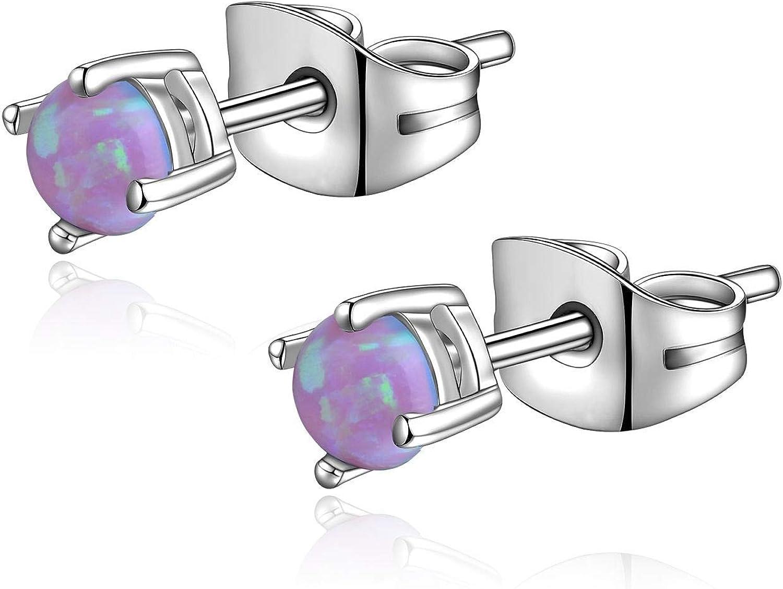 CANDYFANCY 3mm Pink Opal Stud Earrings for Women Men Surgical Steel Forward Helix Earring Earlobe Auricle Piercings Jewelry