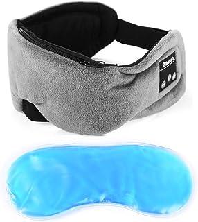 Powcan Antifaz para Dormir, Auriculares Música de Dormir BlueTooth 5.0, máscara para dormir con gel para terapia de fría/caliente, recargable por USB, lavable, manos libres, para hombres y mujeres
