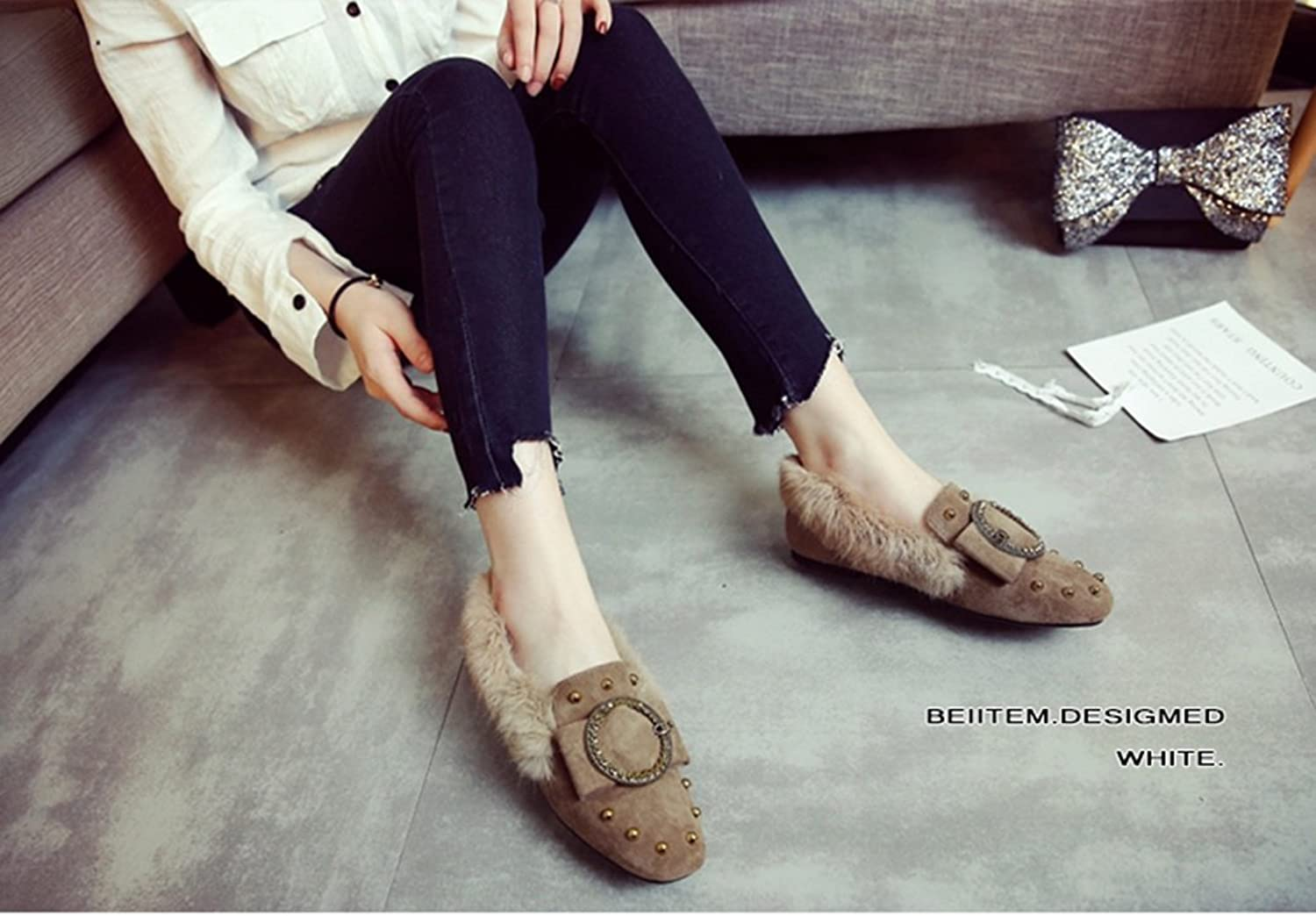 Plush shoes loafers slippers Flat shoes Plus Velvet shoes Peas shoes Plush shoes Winter shoes ( color   Brown , Size   10B(M)US )