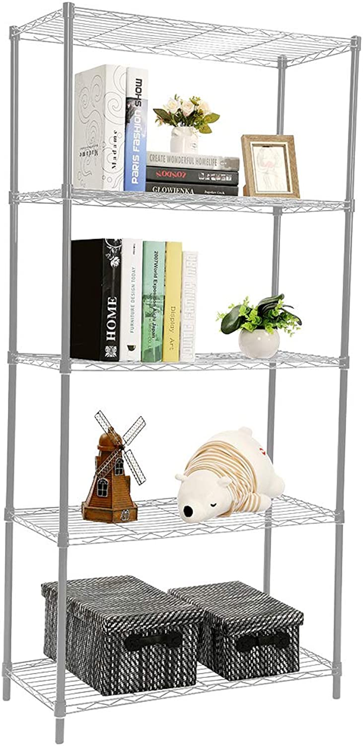 Home Basics Ultra Durable Steel Wide Wire Shelving Unit Storage Rack (Grey, 5 Tier)
