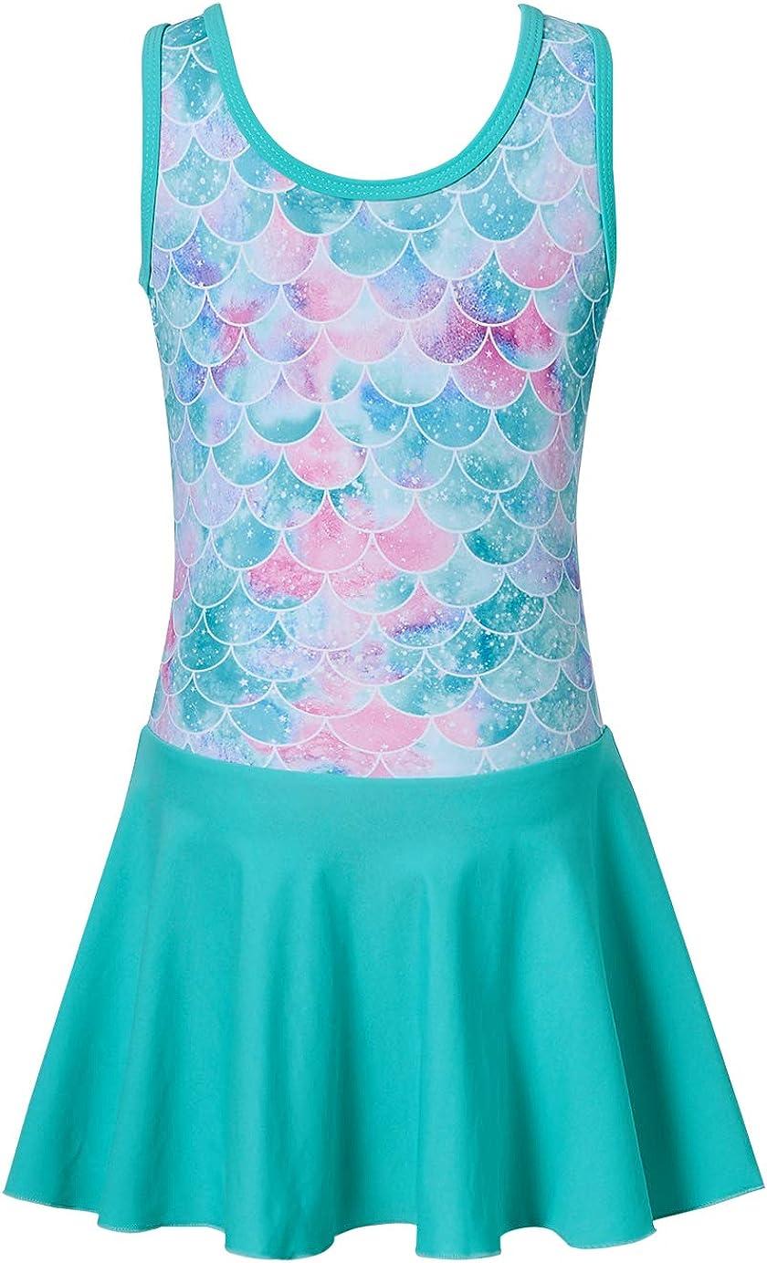 Funnycokid Girls One Piece Swimsuits with Skirt Quick Dry Swim Dress Swimwear Bathing Suit 4-9 Years