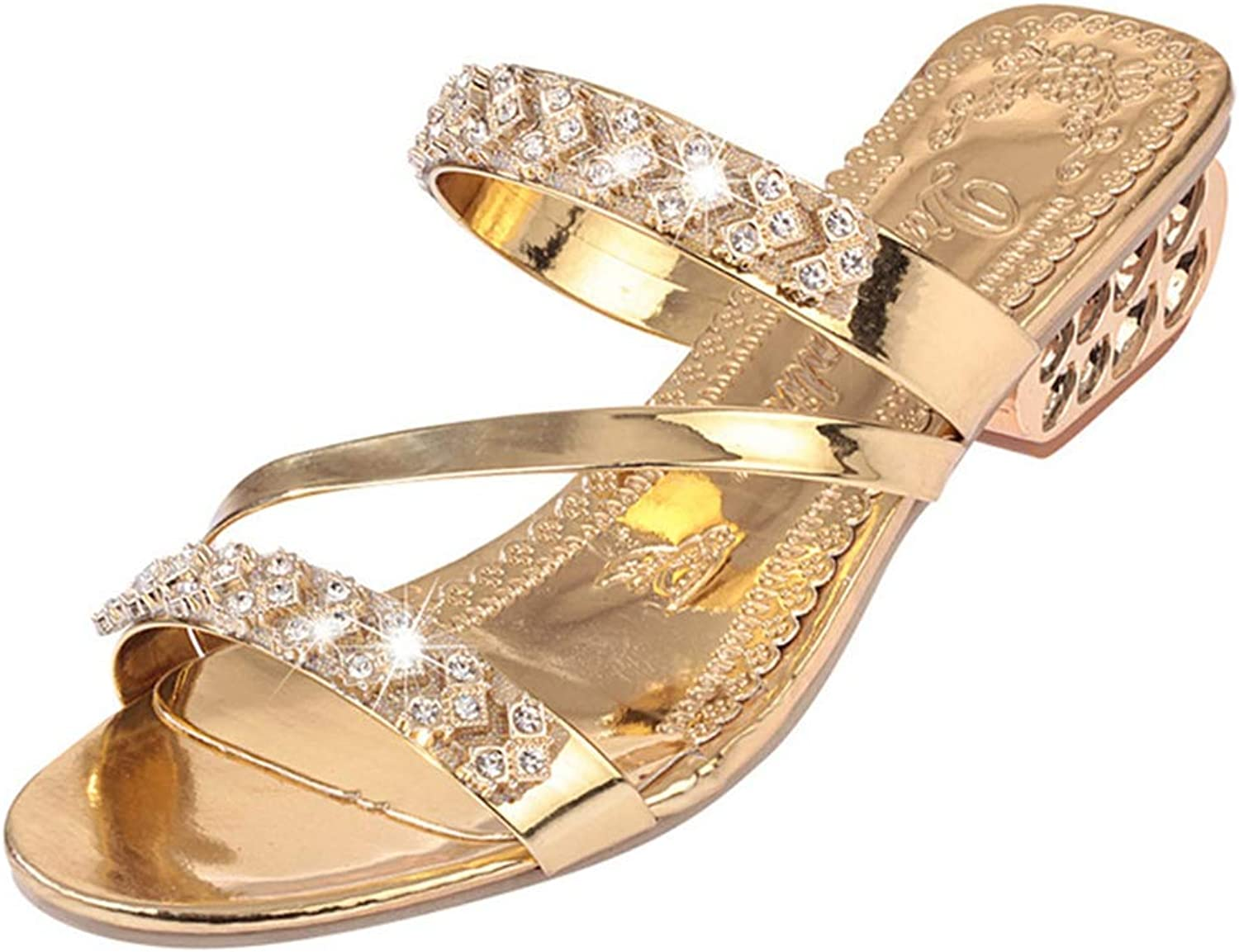 U-MAC Sparkling Rhinestone Rhinestone Low Heel Wedge Platform Sandals for Womens Sexy Open Toe Crystal Slip On Party Dress shoes