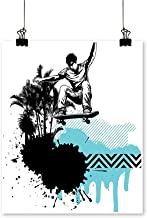 "Rich in colorBoy Skater Jumping Exotic Sports Theme Motley Skateboarding Illustration Black Light Blue Print Decor for Living Room,12""W x 20""L/1pc(Frameless)"