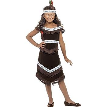 Per Bambini Indiano Ragazza Costume Pocahontas Costume Vestito 128Cm 5-7 Anni