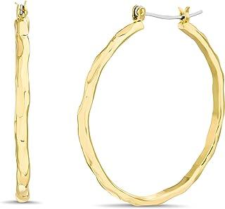 Steve Madden 42mm Yellow Textured Hoop Earrings for Women