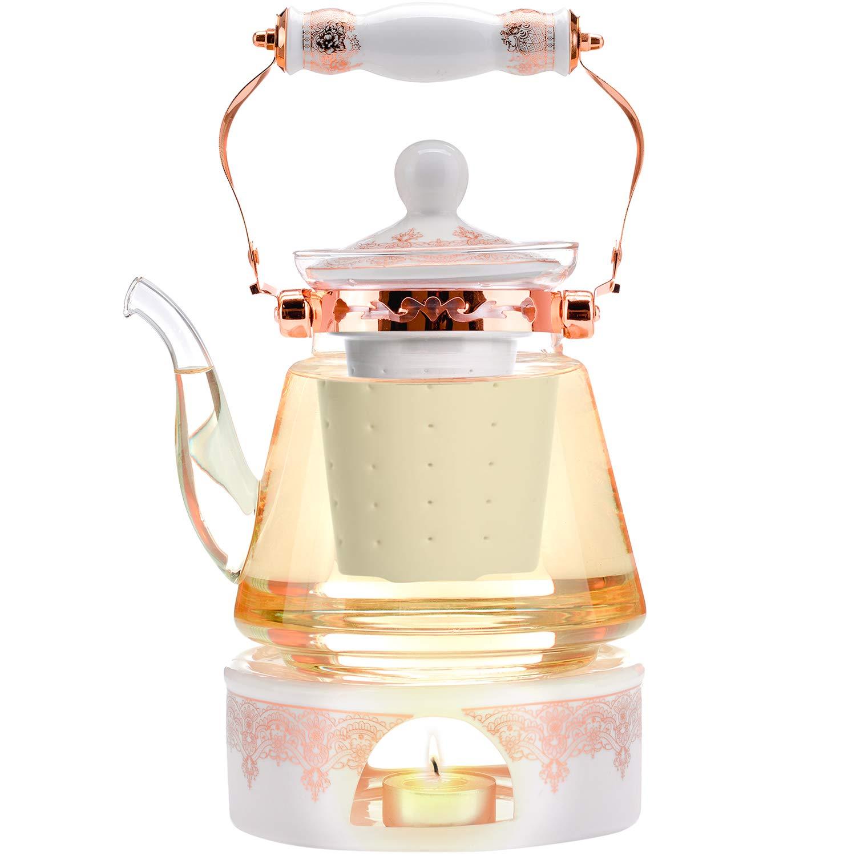 150 avec infuseur amovible en inox pour th/é en feuilles R/ésistant /à la chaleur+ Th/éi/ère en verre sans plomb Coffret /à th/é Teabloom 1.2 L Comprend 4 tasses isol/ées /à double paroi en verre