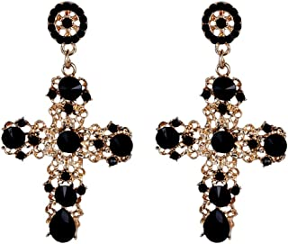 Palace Hollow Carving Pattern Color Crystal Big Cross Baroque Dangle Earrings for Women Girls Party Gifts