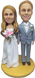 Figurina di argilla personalizzata per torta nuziale Topper personalizzata in base alla foto dei clienti Decorazioni di no...