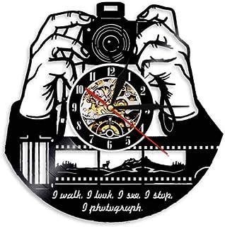 AXEF Manos a la cámara Cámara fotográfica LED 7 Colores de luz Reloj Fotógrafos Disco de Vinilo Reloj de Pared Fotografía Estudio Logotipo Camarógrafo Regalo 30cm
