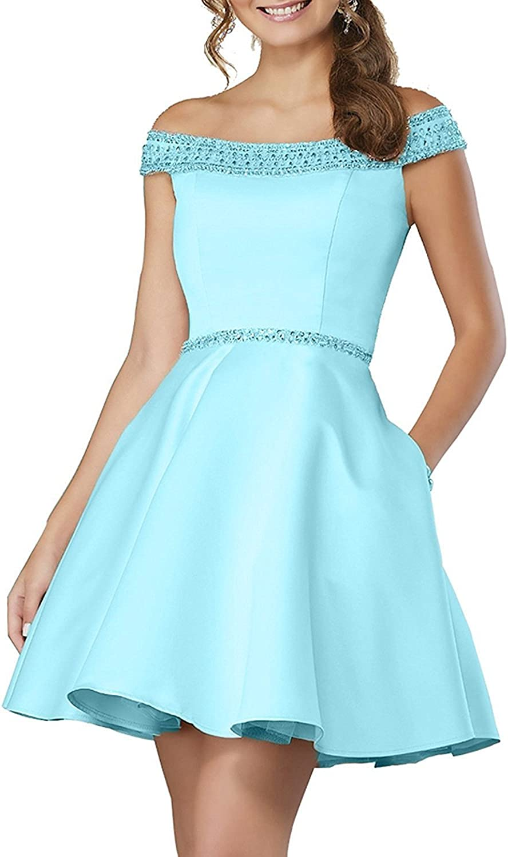 JQLD Off Shoulder Beaded Satin Homecoming Dresses A Line Short Prom Dress with Pocket