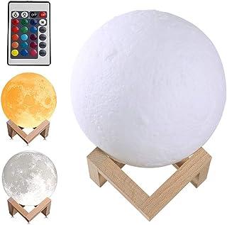 Gobesty Lámpara de luz de luna con impresión 3D, 15 cm, 16 colores RGB LED, lámpara decorativa de colores, recargable por USB, mando a distancia y control táctil, lámpara de mesita de noche