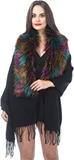 Cold Weather Luxurious Faux Fur Collar Joint Large Wrap Scarf for Ladies
