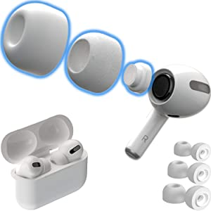CharJenPro Memory Foam Ear Tips for AirPods Pro w/Silicone Shield. Patented Design. AirFoams Pro Active 2.0 Lasts 5X Longer. Replacement Tip. As seen on Kickstarter. (S/M/L, 3 Pairs, White)