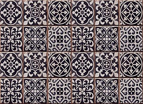 Home Decor Line CR-67253 Tiles Azulejos Kitchen Panel, Black