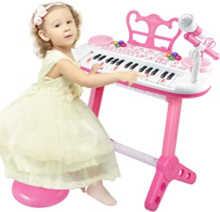 TWFRIC Toy Piano Keyboard for Kids with Microphone, 31-Key Electronic Musical Instrument Piano Toy Keyboard with Music Stand and Stool for Kids Birthday Christmas Day Gifts