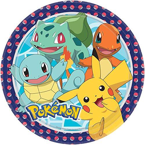 Amscan 9904820 - Teller Pokemon, 8 Stück, Druchmesser 22,8 cm, Pappteller, Einwegteller, Kindergeburtstag