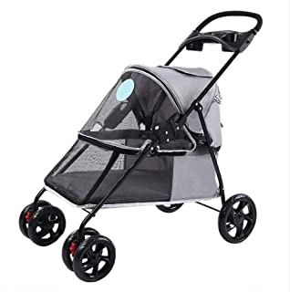 Pet stroller Collapsible Pet Stroller,Four-Wheeled Pet Stroller,Pet Supplies,for Small and Medium Pets (Color : Grey)