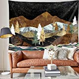 Mountain Sunset Wall Tapestry - Gold Mountain Forest Tapestry Psychedelic Nature Landscape Tapestries for Men Girls Women Room Decor Wall Hanging
