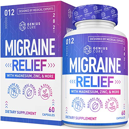 Migraine Headache Relief Supplement – Dr. Recommended Supplement to Help Prevent Pain, Nausea, Sensitivity & Auras from Tension & Chronic Strain - Genius 60 Vegan Caps