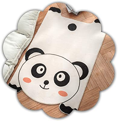 ZQYD Super Soft Cake Velvet Strip Area Rug Cartoon Panda Shaped Bedside Rug Thickened Non-Slip Living Room Bedroom Animal Shaped Rug Z-2020-6-30 (Size : 80x120cm)