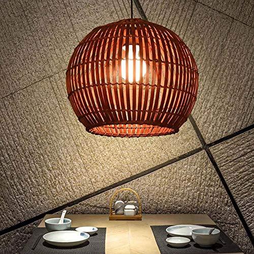 WFZRXFC Esfera Jaula de pájaro araña Japonesa Simplicidad Colgante luz té Dormitorio decoración de Noche lámpara Colgante Natural bambú Tejido sin contaminación lámpara de Techo Edison e27
