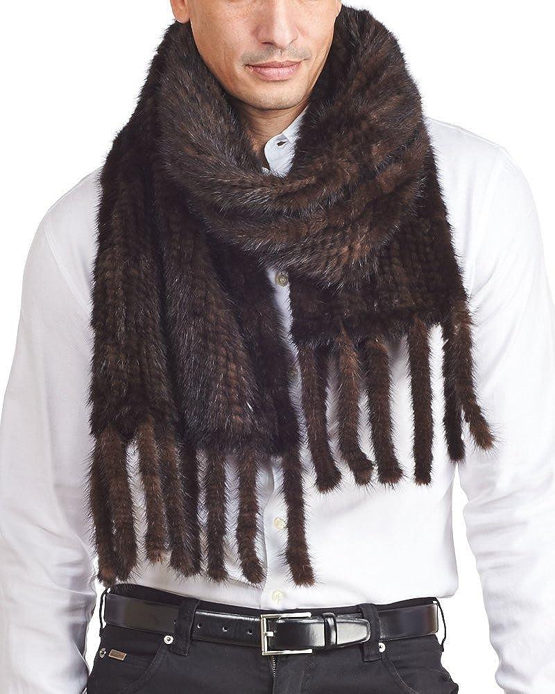 Men's Mahogany Knit Mink Fur Scarf with Tassels