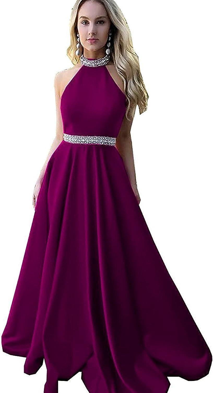 Homdor Beaded Halter Prom Dress Long Backless Satin ALine Evening Gown for Women 2018